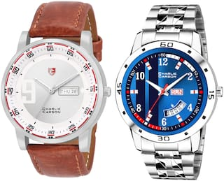 Charlie Carson day & date combo set of 2 Stainless Steel and leather strap watch for men-CC379MMC