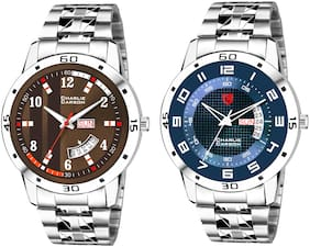 Charlie Carson day & date combo set of 2 Stainless Steel watch for men-CC343MMC