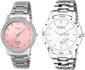 Charlie Carson day & date watch combo set of 2 Stainless Steel watches for men & women-CC434MGC