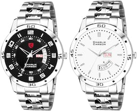 Charlie Carson day & date combo set of 2 Stainless Steel watch for men-CC368MMC