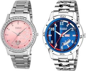 Charlie Carson day & date watch combo set of 2 Stainless Steel watches for men & women-CC422MGC