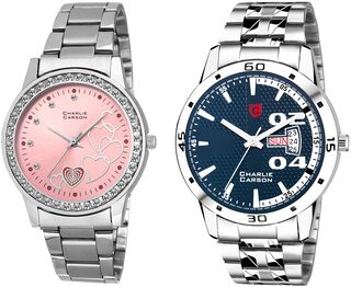 Charlie Carson day & date watch combo set of 2 Stainless Steel watches for men & women-CC432MGC