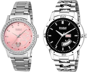Charlie Carson day & date watch combo set of 2 Stainless Steel watches for men & women-CC433MGC