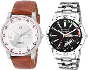 Charlie Carson day & date combo set of 2 Stainless Steel and leather strap watch for men-CC384MMC