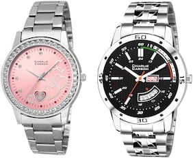 ae5ca3f49f Charlie Carson day & date watch combo set of 2 Stainless Steel watches for  men &