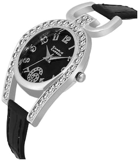 Charlie Carson crystal studded black dial watch - CC028G