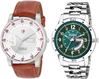 Charlie Carson day & date combo set of 2 Stainless Steel and leather strap watch for men-CC388MMC