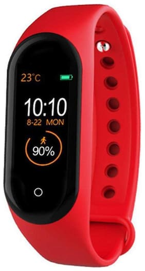 TSV M4 Watch Fitness Band;Fitness Tracker Watches for Unisex Sports Activity Tracker Watch Step Counter Calories Burned;Sleep Monitor SMS;Call Reminder;Camera Shoot (Red)