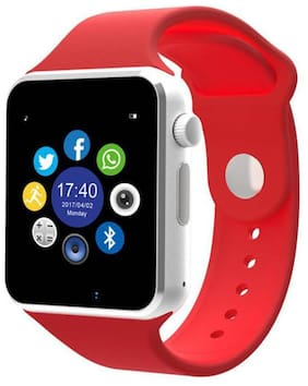 TSV A1 Bluetooth Smart Watch with Camera and Sim Card Support;and Fitness Band Feature Compitable with All Smart Phones (Red)