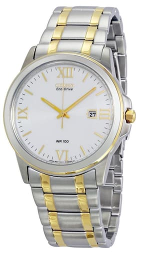 Citizen Eco Drive Silver Dial Two-tone Stainless Steel Men's Watch BM7264-51A