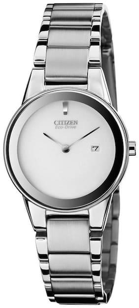 Citizen GA1050-51A Women's Axiom Silver Dial Eco-Drive Steel Bracelet Watch