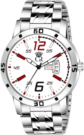 ClockRoom 2104-RD Elegant White&REd Round Dial Day & Date Functioning Stainless Steel Bracelet Premium Watch for Men