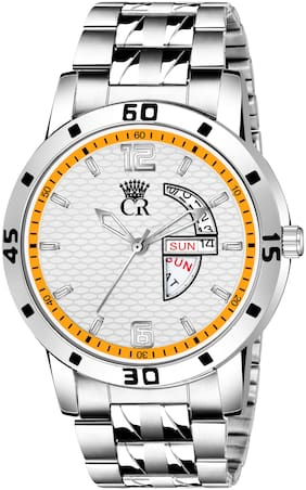 ClockRoom 2105-WH Elegant White Round Dial Day & Date Functioning Stainless Steel Bracelet Premium Watch for Men