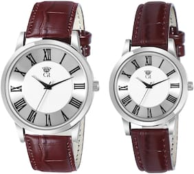 ClockRoom 5001-WH Couple Luxury White Dial Brown Leather Belt Analog Watch - For Couple