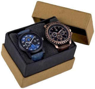 ClockRoom Pack 2 (02-159) Exclusive Designer Blue Dial And Leather Strap Combo Analoges Watch - For Men