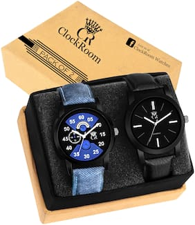 ClockRoom  PACK 2 (CR02-CR05) FASHION AND LOOK Leather Strap Analog Watch - For Men
