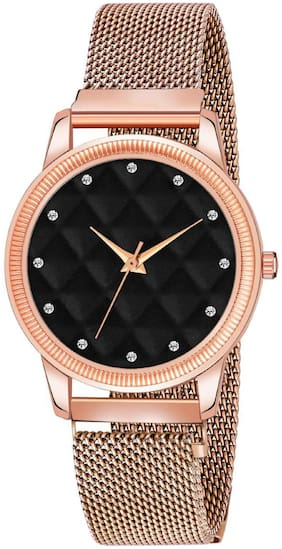 Clockroom Black Dial With 3D Embossing Effect & Copper Magnet Strap Analog Watch - For Girls