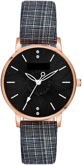 ClockRoom Black Chex Type Leather Strap Black Dial Analoge Watch - For Girls