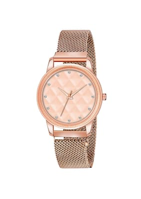 Clockroom Copper Dial With 3D Embossing Effect & Copper Magnet Strap Analog Watch - For Girls