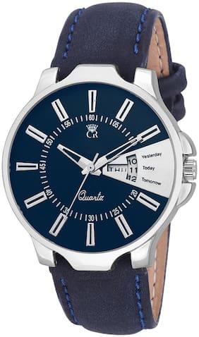 ClockRoom CR23 Unique Blue Round Dial Blue Genuine Leather Belt Analog Watch For Men