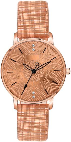 ClockRoom Orange Chex Type Leather Strap Orange Dial Analoge Watch - For Girls