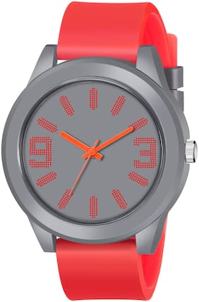 ClockRoom Red Rubber Strap Grey Dial Analoge Sport Watch - For Boys