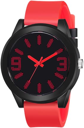 ClockRoom Red Rubber Strap Black Dial Analoge Sport Watch - For Boys