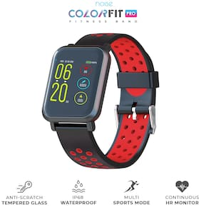 Noise ColorFit Pro Smartwatch - Sport Red Black | Bluetooth Smart Band with Detachable Strap | Wide Screen Waterproof | Sports and Activity Tracker | Camera and Music Control Features