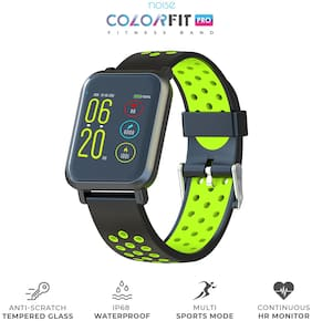 Noise ColorFit Pro Smartwatch - Sport Green Black | Bluetooth Smart Band with Detachable Strap | Wide Screen Waterproof | Sports and Activity Tracker | Camera and Music Control Features
