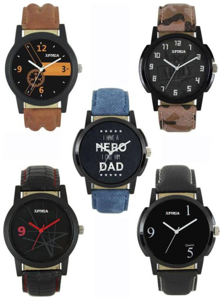 COMBO of 5 BLACK different design DIAL   BELT Analog stylish watch for men's   boys