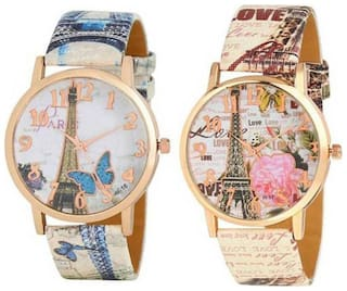 Combo Pack 2 Stylish Designer Lover Choice Multicolor Leather Belt Watch