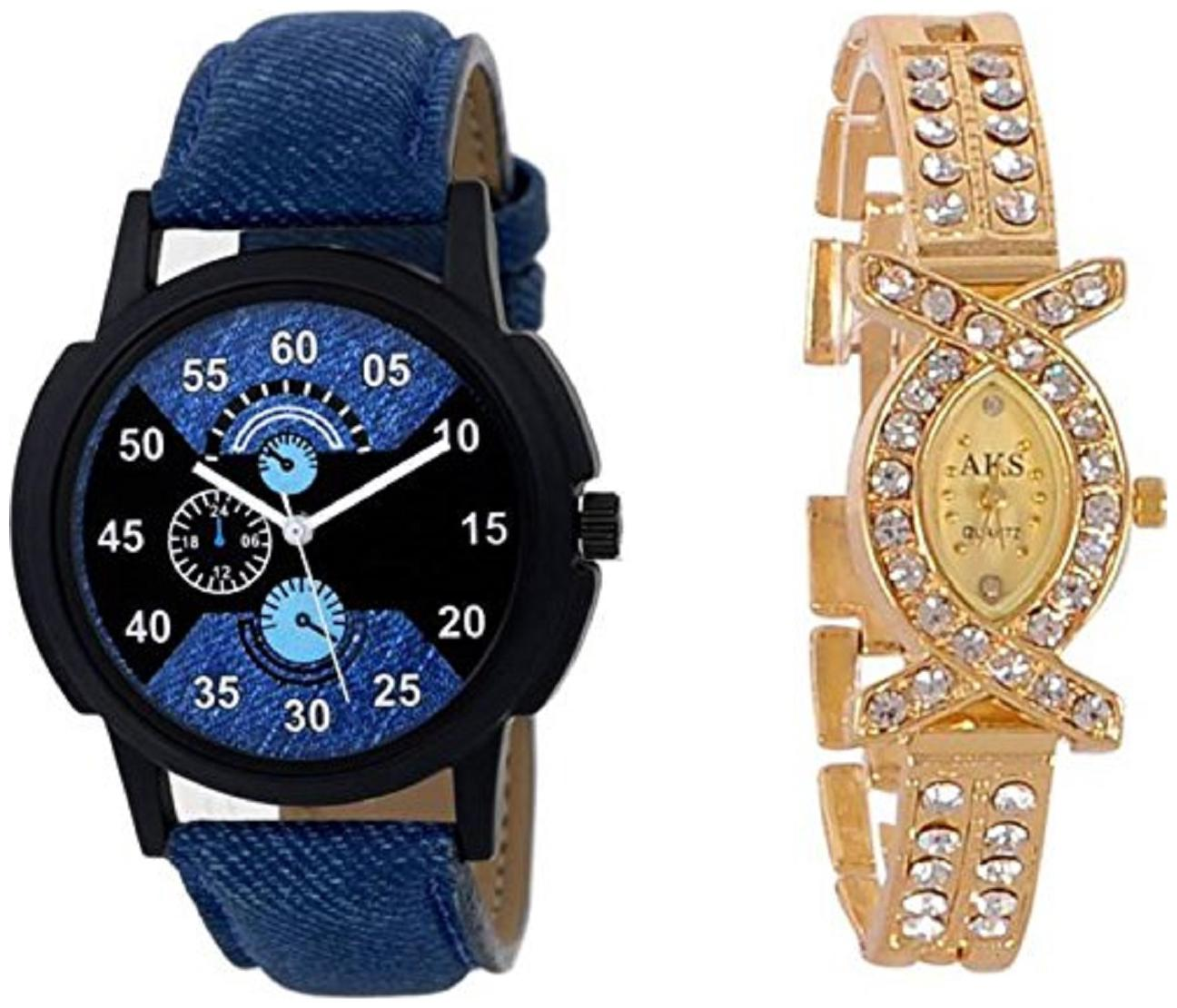 Crispy Analog Stylish Stone Designer Watch for Women   Blue Dial Watch for Men  Pack of 2