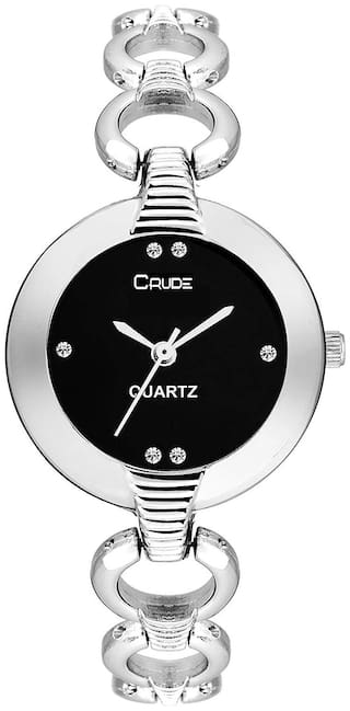 62577a1c4 Buy Crude rg2052 black dial silver chain watch for women and girls ...