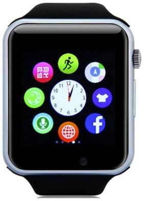 CRYSTAL DIGITAL A1 Bluetooth Smart Watch with Camera and Sim Card Support with Apps Like Facebook and Whatsapp for All 3G & 4G Android/iOS Smartphones  (Silver)