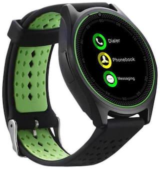 Crystal Digital Camera & SIM Card Supported Bluetooth V9 Smartwatch Compatible With Samsung Galaxy J8 (Green)