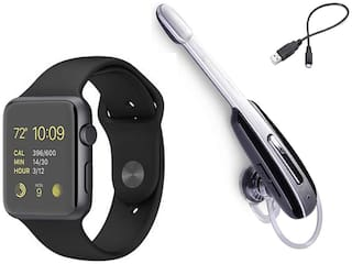 Crystal Digital HM 1000 Multimedia Bluetooth Headphones and A1 Smartwatch with Camera and SIM Card Support Combo for All Smartphones (Black)