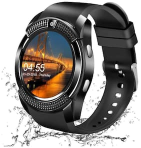 CRYSTAL DIGITAL  V8 Bluetooth Smartwatch With Sim & Tf Card Support With Apps Like Facebook And Whatsapp Touch Screen Multilanguage Android (Black)