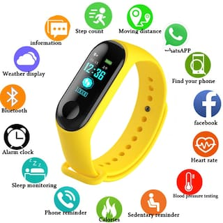 Crystal Digital M3 Smart Activity Fitness Tracker Long Battery Standby  Perfect For Outdoor Sports  Travel  business  etc Yellow