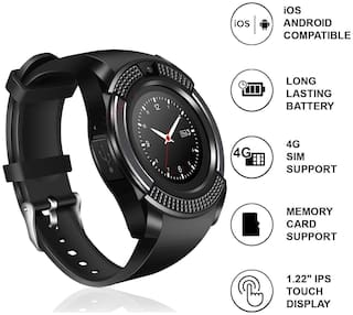 Crystal Digital V8 Bluetooth Smart Watch Band with Pedometer, HD Camera, Sweatproof Smartwatch Compatible with All Android & iOS