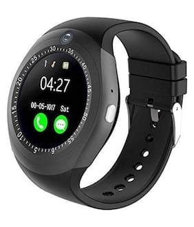 Crystal Digital Y1S Touch Screen Smart Wrist Watch with Features Like Camera;Sim Card Slot Black