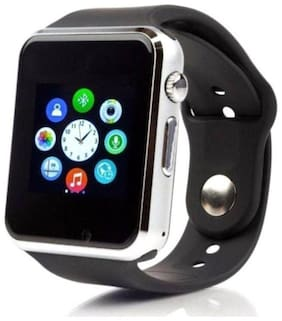 CRYSTAL DIGITAL A1 Bluetooth Smart Wrist Watch With Camera;Sim & TF Card Support For Android;IOS & Smart Phone Silver Smartwatch (Silver)