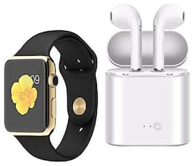 TSV A1 Smart Watch with Camera  sim Card & i7 Bluetooth Headset Earphone (Combo of A1 Golden and i7 Airpods)