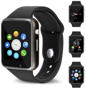 Crystal Digital A1 Smart Watch with Camera;Calling Function;Bluetooth V3.0;Support SIM Card;SD Card;Compatible with All Smart Phones. Black;Free Size (black)