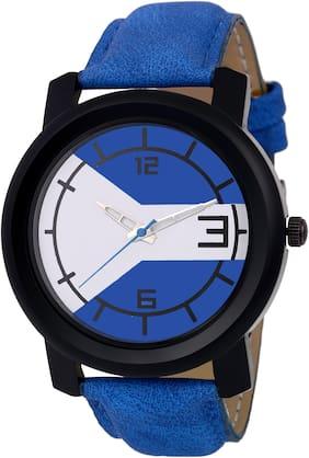 Cstyle Blue Leather Strap Analog Men Fashion Wrist Watch-CT07