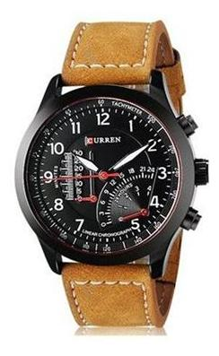 Curren Temperature Black Dial Brown Analog Watches