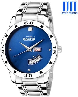 David Martin Blue Dial Watch with Working Day & Date Chronograph Function