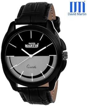 David Martin Black Round Dial Leather Men's Watch