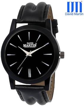 David Martin Round Dial Leather Men's Analog Watch