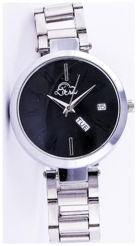 Derz Day And Date Black Dial Analog Watch For Women - DZ009