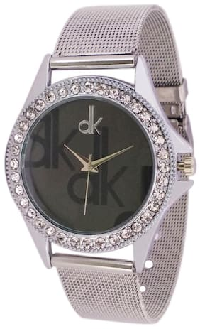DK Silver and Black Diamond Studded Wrist Watch for Women